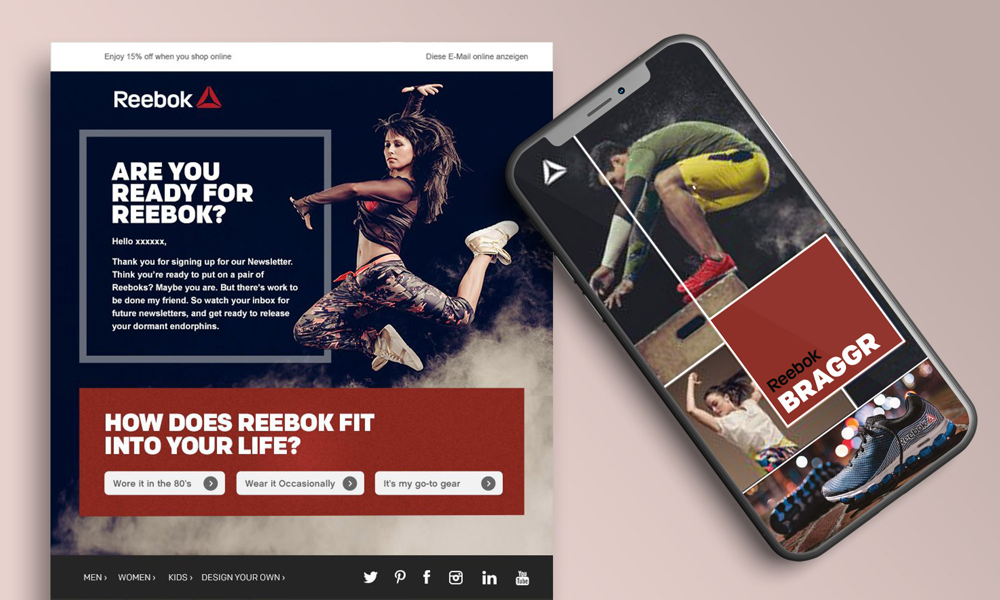 Reebok Onboarding Email and Website Design