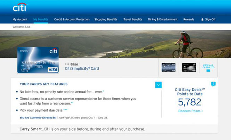 Citi Card Benefits Website Design